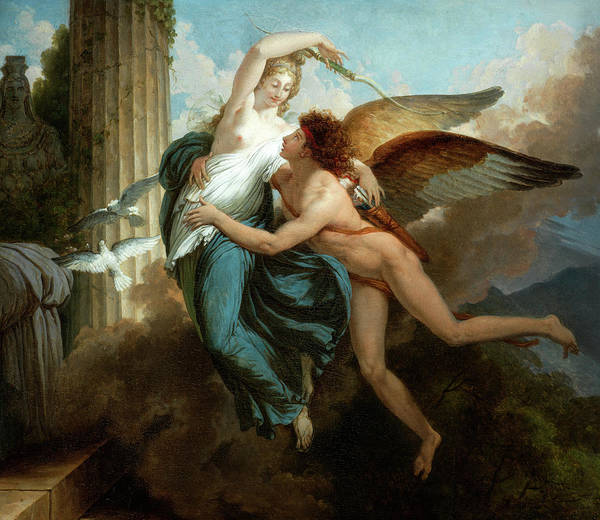 Wall Art - Painting - The Reunion Of Cupid And Psyche by John Jean Pierre Saint-Ours