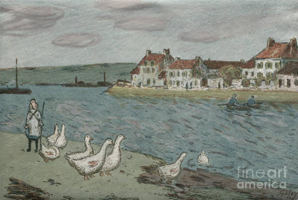 Wall Art - Painting - The River Bank Or Geese, 1897 by Alfred Sisley