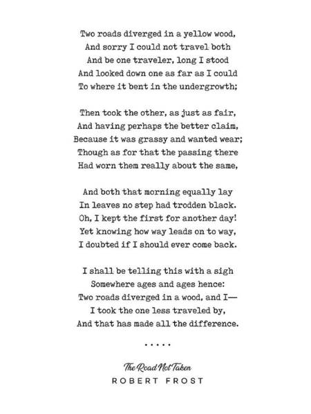 Elegant Mixed Media - The Road Not Taken - Robert Frost Poem - Minimal, Sophisticated, Modern, Classy Typewriter Print by Studio Grafiikka