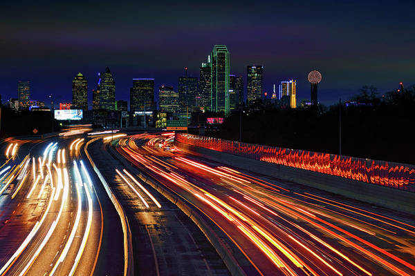 Photograph - The Road To Dallas - Dallas Skyline - Tom Landry Freeway by Jason Politte