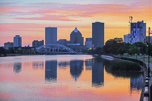 Photograph - The Rochester Skyline At Sunrise Reflecting On The Genessee River by Toby McGuire