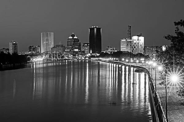 Photograph - The Rochester Skyline Reflecting The The Genesee River Rochester Ny Black And White by Toby McGuire