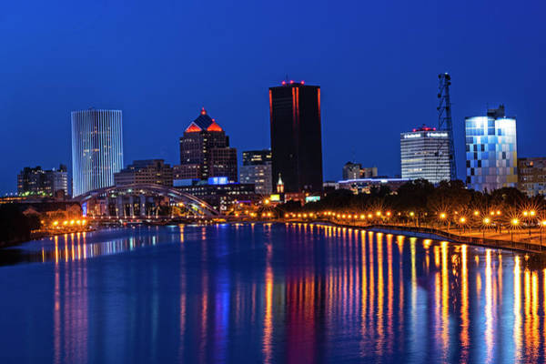 Photograph - The Rochester Skyline Reflecting The The Genesee River Rochester Ny Deep Blue Sky by Toby McGuire