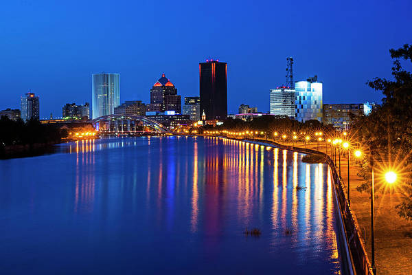 Photograph - The Rochester Skyline Reflecting The The Genesee River Rochester Ny by Toby McGuire