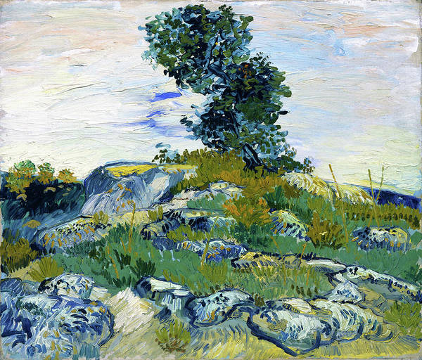 Wall Art - Painting - The Rocks, Rocks With Oak Tree - Digital Remastered Edition by Vincent van Gogh