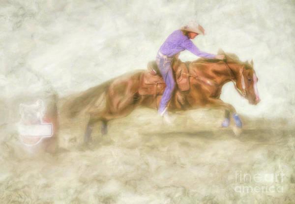 Bucking Bronco Digital Art - The Rodeo Barrel Racer by Randy Steele