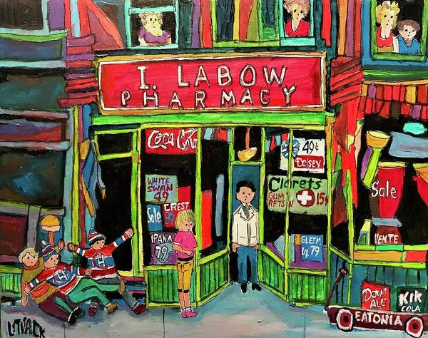 Wall Art - Painting - The Romance Of Labow Pharmacy by Michael Litvack