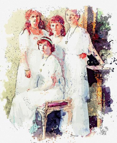 Wall Art - Painting - the Romanoff sisters from a group portrait watercolor by Ahmet Asar by Celestial Images