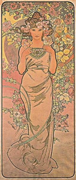 Wall Art - Painting - The Rose  by Alphonse Mucha