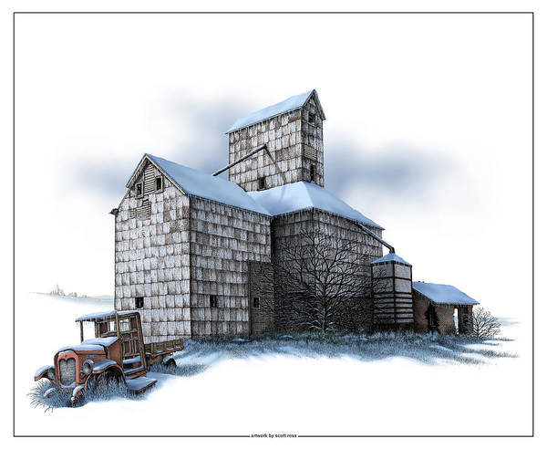 The Ross Elevator Winter Art Print
