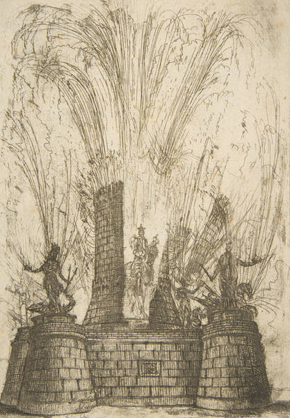 Wall Art - Relief - The Round Tower Ruptured To Reveal The Statue Of The King Of The Romans by Claude Lorrain