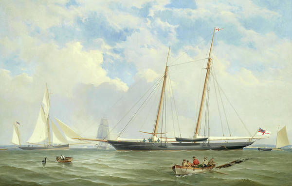 Wall Art - Painting - The Royal Yacht Squadron's Viking At Anchor Off Cowes by Charles Gregory