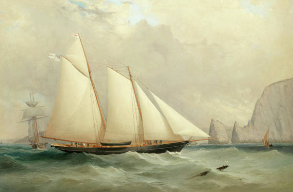Wall Art - Painting - The Royal Yacht Squadron's Viking Off The Needles by Charles Gregory