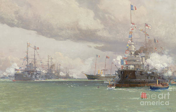 Wall Art - Painting - The Royal Yacht Victoria And Albert IIi Reviewing The Anglo French Fleet In Cowes Road, 1905 by Eduardo de Martino