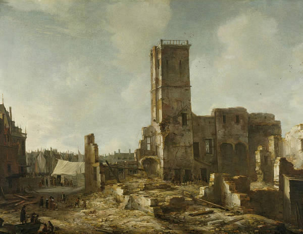 Wall Art - Painting - The Ruins Of The Old Town Hall Of Amsterdam After The Fire Of 7 July 1652 by Jan Abrahamsz Beerstraaten