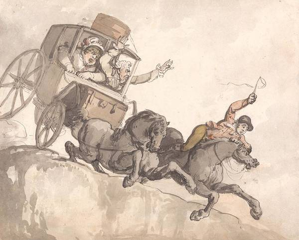 Drawing - The Runaway Coach by Thomas Rowlandson