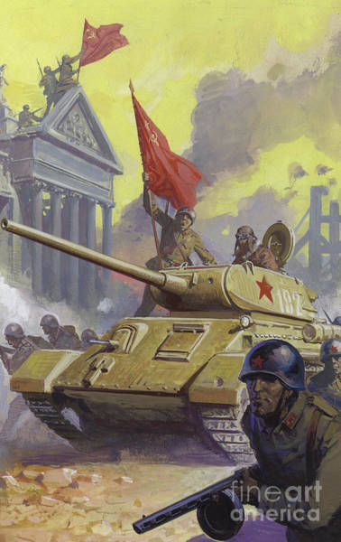 Wall Art - Painting - The Russian Assault On Berlin At The End Of World War II by Severino Baraldi