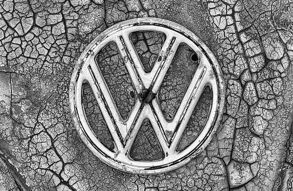 Photograph - The Rusty Vw Emblem Black And White by JC Findley