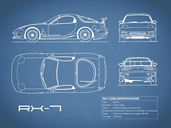 Supercar Photograph - The Rx-7 Blueprint by Mark Rogan