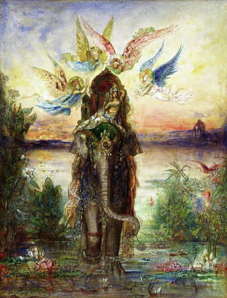 Wall Art - Painting - The Sacred Elephant, Peri - Digital Remastered Edition by Gustave Moreau