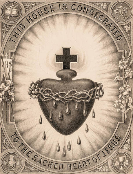 Wall Art - Painting - The Sacred Heart by American School