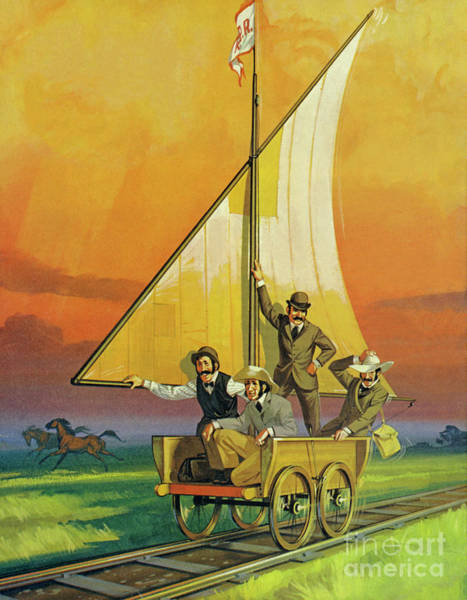 Wall Art - Painting - The Sail Car  by Angus McBride
