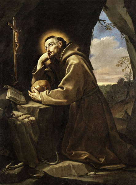 Painting - The Saint Francis, Before The Cross Praying by Guido Reni