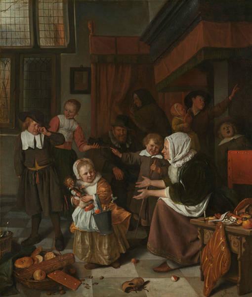 Wall Art - Painting - The Saint Nicholas Celebration by Jan Steen