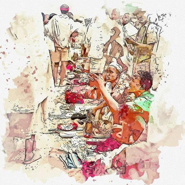 Painting - The Salesman. Ethiopia 1960s Watercolor By Ahmet Asar by Ahmet Asar