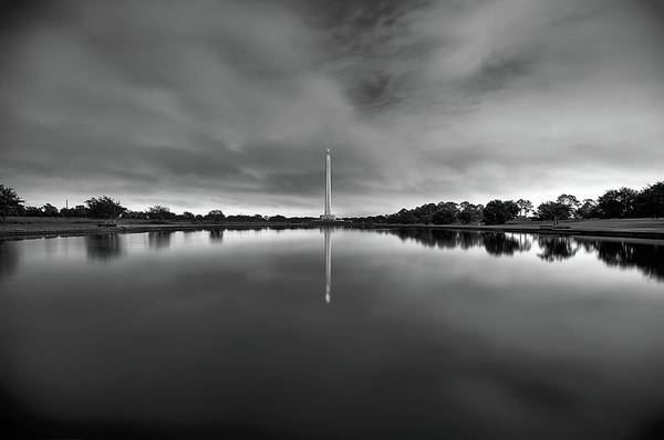 Wall Art - Photograph - The San Jacinto Monument At Midnight In Black And White by JC Findley