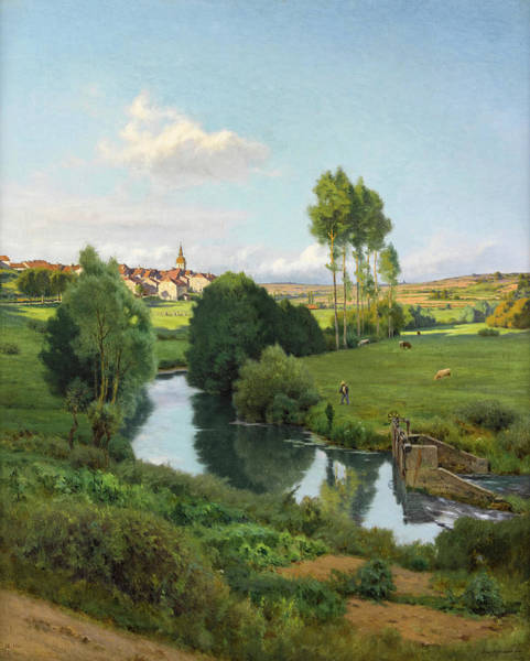 Bottom Painting - The Saone At The Bottom Of Lironcourt, Vosges by Jean Ferdinand Monchablon