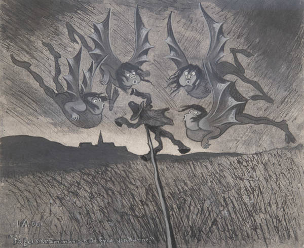 Drawing - The Scarecrow And The Four Winds by Ivar Arosenius