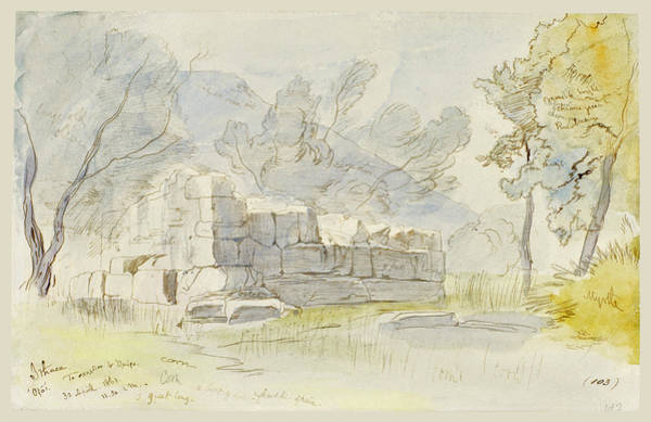 Drawing - The School Of Homer, Ithaca, Greece by Edward Lear
