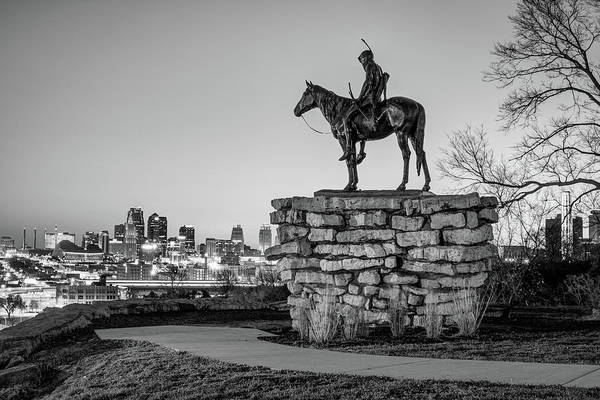 Photograph - The Scout Overlooking The Kansas City Skyline - Monochrome Edition by Gregory Ballos