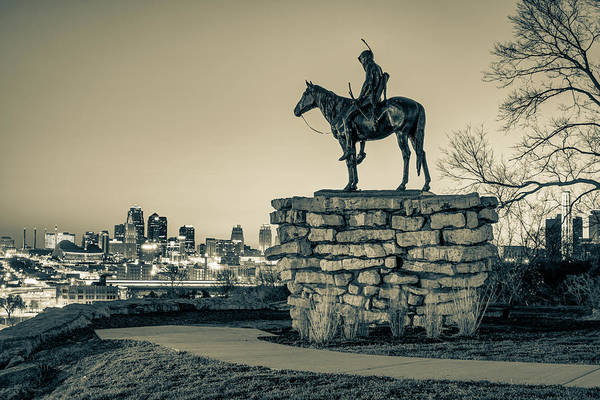 Photograph - The Scout Overlooking The Kansas City Skyline - Sepia Edition by Gregory Ballos
