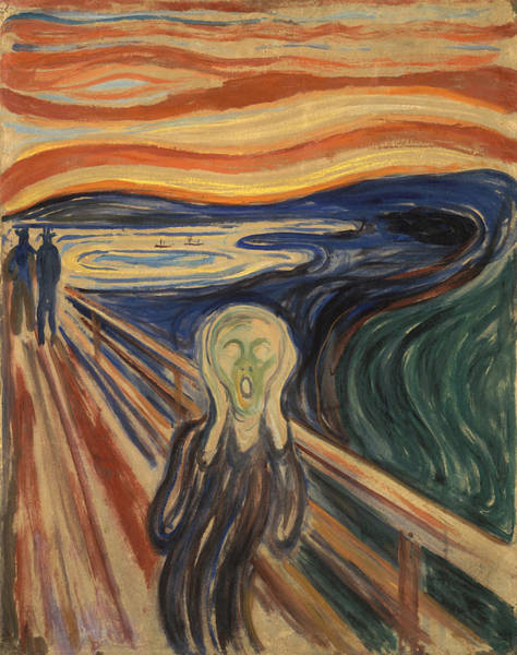 Scream Painting - The Scream Painting - Edvard Munch - 1910   by War Is Hell Store