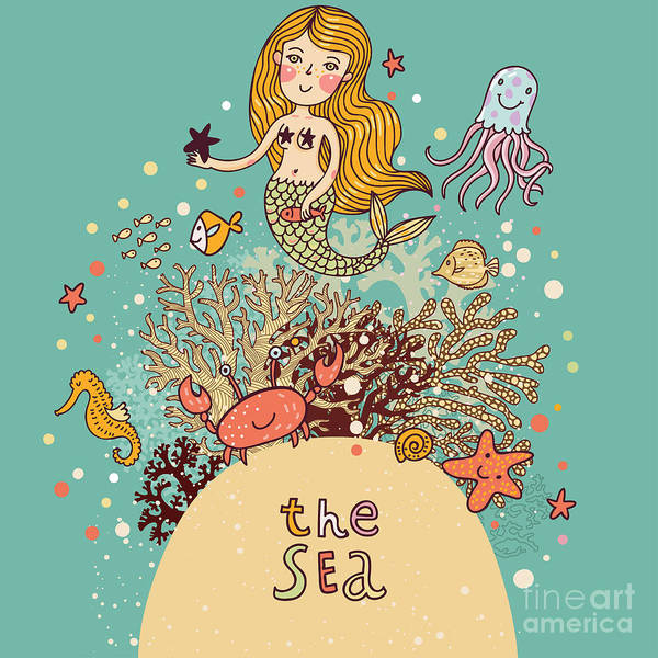 Wall Art - Digital Art - The Sea â Bright Cartoon Card by Smilewithjul