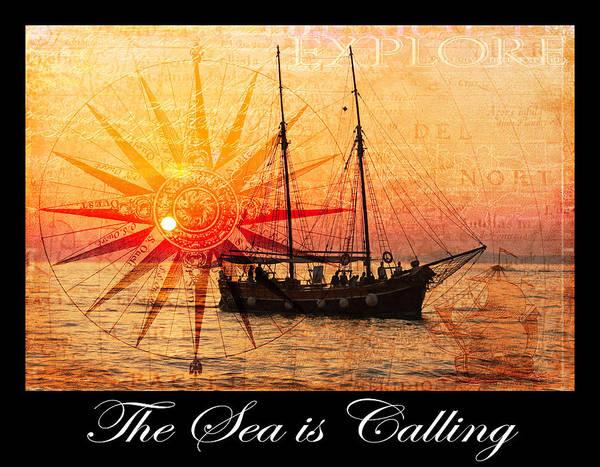 Photograph - The Sea Is Calling Ocean Art With Script by Debra and Dave Vanderlaan