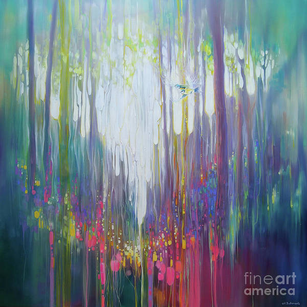 Ancient Woodland Painting - The Secret - A Semi Abstract Woodland Glade With Wildflowers And Birds by Gill Bustamante