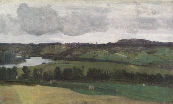 Wall Art - Painting - The Seine Near Rouen by Jean-Baptiste-Camille Corot