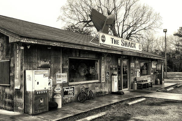 Photograph - The Shack In Evergreen, Alabama In Black And White by Bill Swartwout Photography