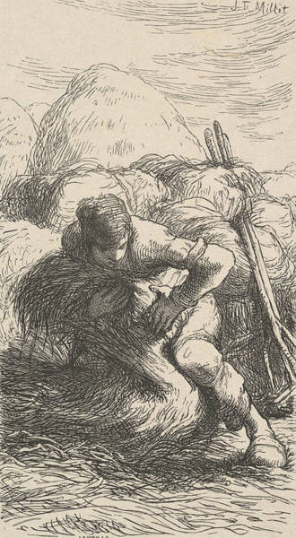 Relief - The Sheaf Binder by Jean-Francois Millet