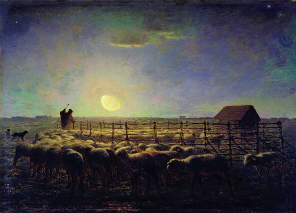 Shooting Star Wall Art - Painting - The Sheepfold, Moonlight - Digital Remastered Edition by Jean-Francois Millet