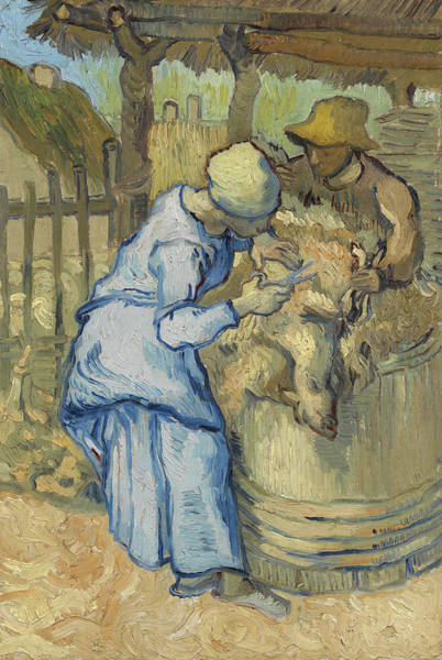 Rural Life Wall Art - Painting - The Sheepshearer, After Millet by Vincent van Gogh