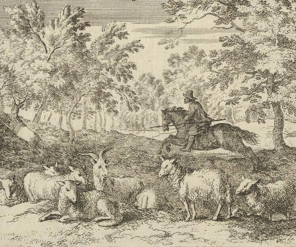 Relief - The Shepherd On Horseback Chases The Stag by Allaert van Everdingen