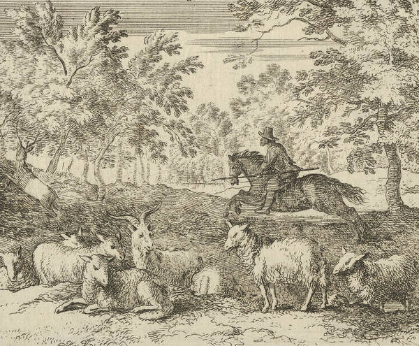 Wall Art - Relief - The Shepherd On Horseback Chases The Stag From Hendrick Van Alcmar's Renard The Fox by Allaert van Everdingen
