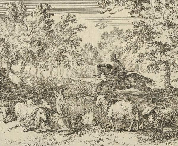 Relief - The Shepherd On Horseback Chases The Stag From Hendrick Van Alcmar's Renard The Fox by Allaert van Everdingen