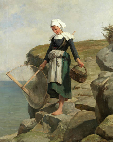 Wall Art - Painting - The Shrimper by Jean-Baptiste Jules Trayer