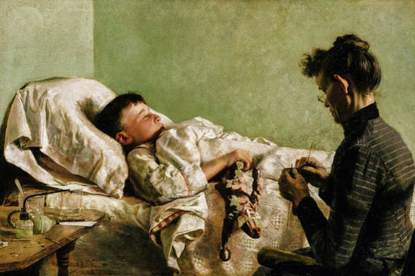 Wall Art - Painting - The Sick Child, 1893 by J Bond Francisco