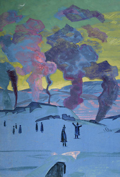 Valley Of Fire Painting - The Signal Fires Of Peace - Detail by Nikolai Konstantinovich Roerich